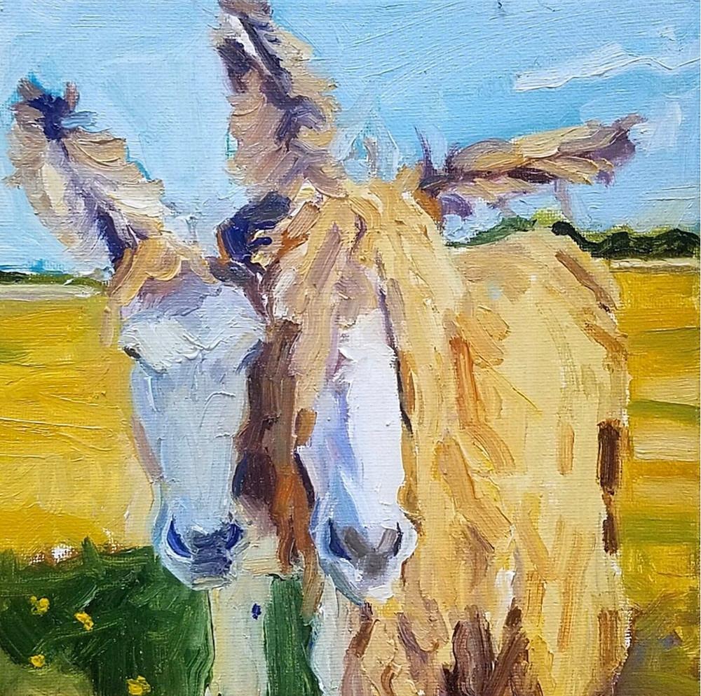 Endangered Poitou Donkeys Painting