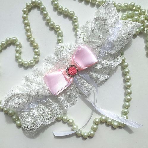 Подвязка арт. 4.2 Белоснежный цвет с нежно-розовым бантом.