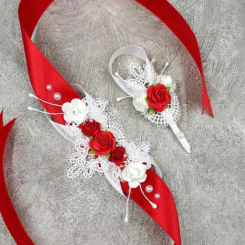 Бутоньерка и браслет для свидетелей. Красный с белым.