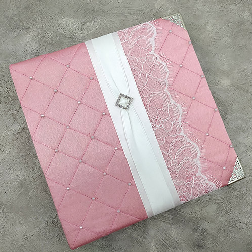 Книга пожеланий с атласной обложкой нежно-розовая