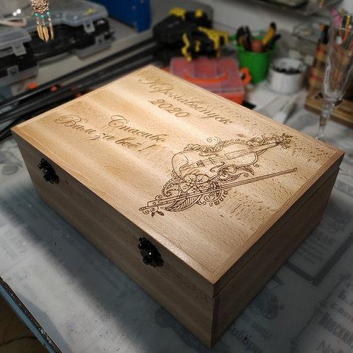 Коробка для вина из ценных пород дерева под две бутылки