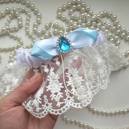 Подвязка арт. 2.4 Белая с нежно-голубым