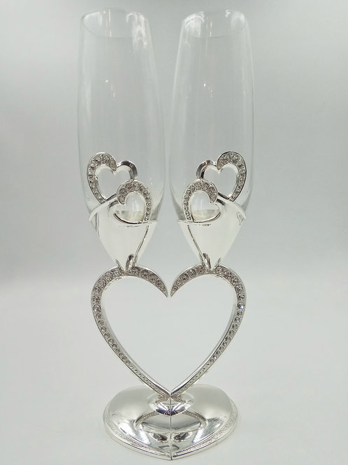 Бокалы сердце серебро