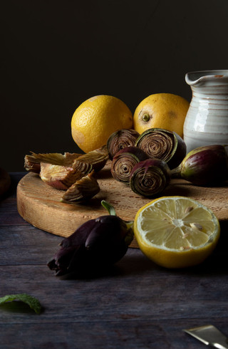 Still life with artichokes and lemons