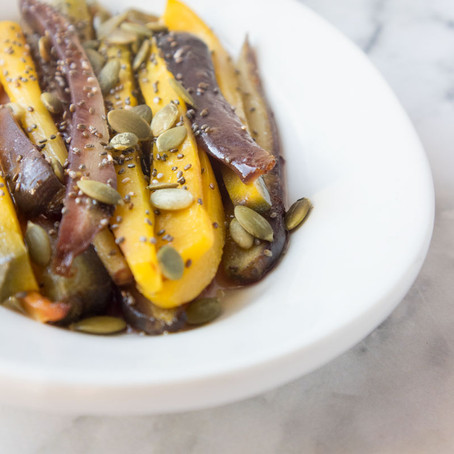 A recipe for roasted rainbow carrots and a brief history of Italian cookery shows