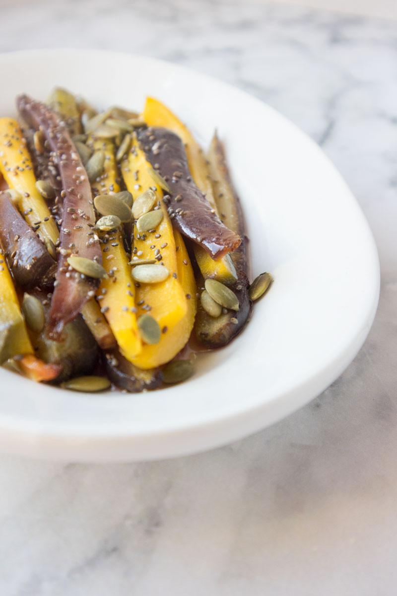 roasted rainbow carrots with honey and lemon | vegetarian recipe