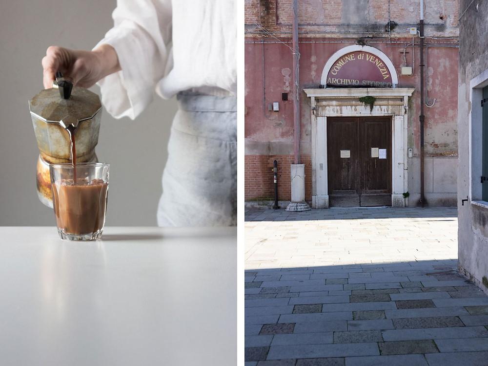 Coffee, cocoa and hazelnut milk drink
