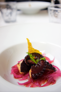 Octopus with marinated red onion