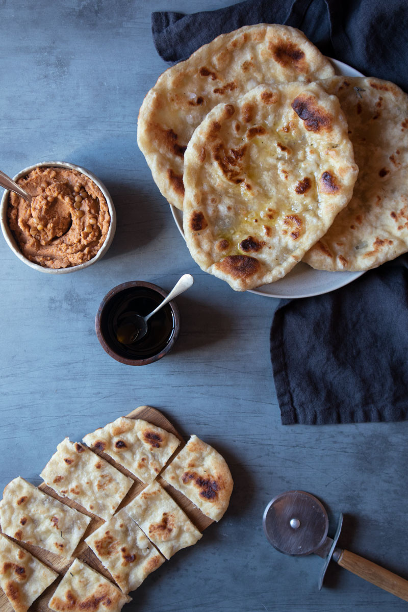 Naan Bread with a Lentil and Dried Tomato Spread