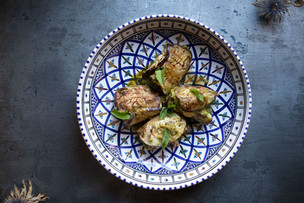 Aubergines stuffed with swordfish and ca