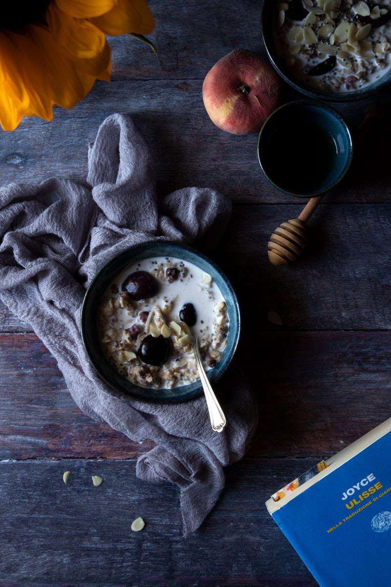 COLD PORRIDGE WITH BAKED FRUIT, CHOCOLATE, ALMONDS AND HONEY