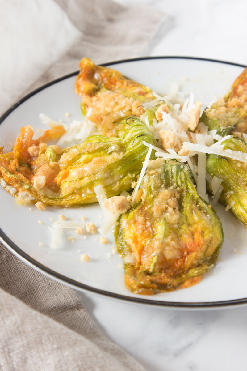 Stuffed zucchini flowers with ricotta, Parmesan and anchovies