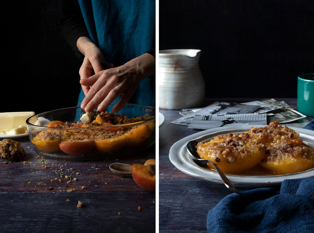 Baked peaches and apricots