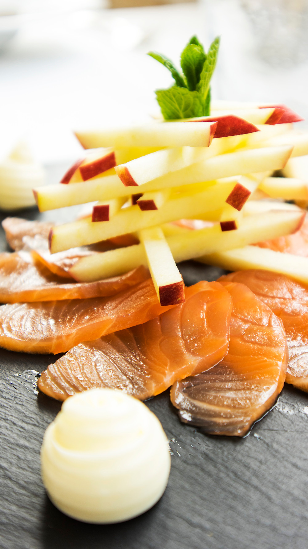 in-house smoked salmon and apple salad