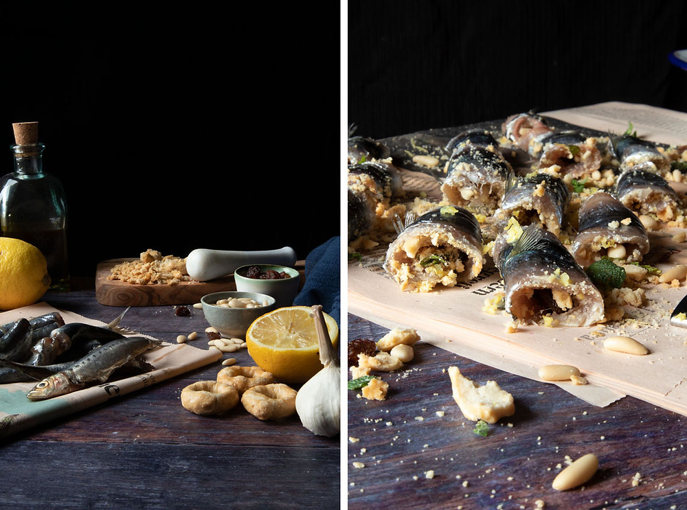 Rolled Sardines with Breadcrumbs, Raisins, Pine Nuts, Lemon and Mint