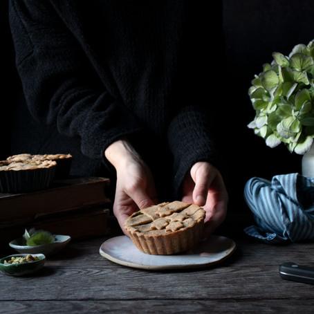 Savoury tartlets with kale, pistachio pesto and ricotta