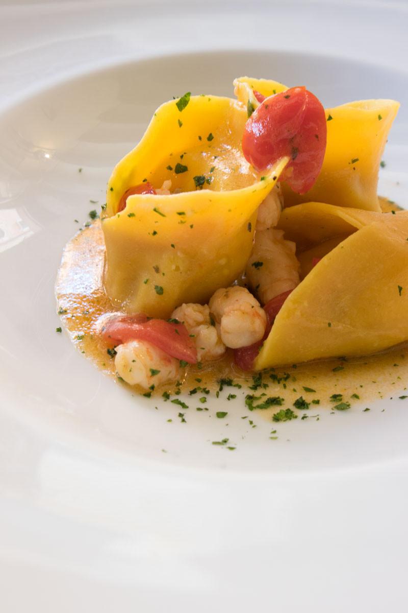 Fine dining in Venice   homemade fish ravioli   Vini da Gigio