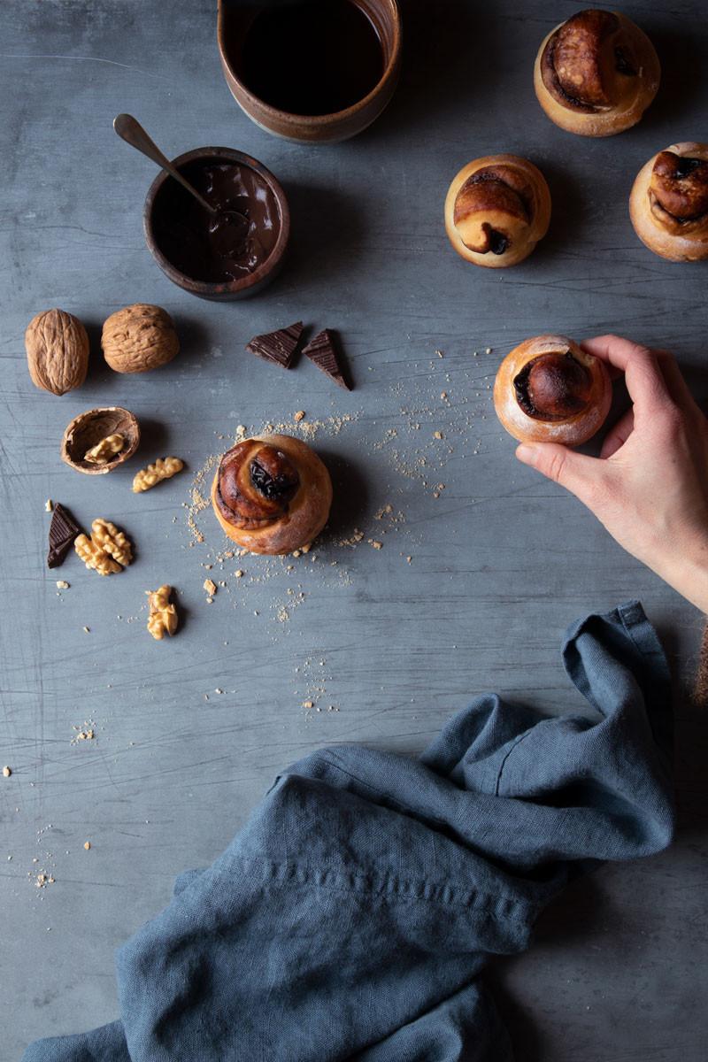 brioche bread buns with chocolate