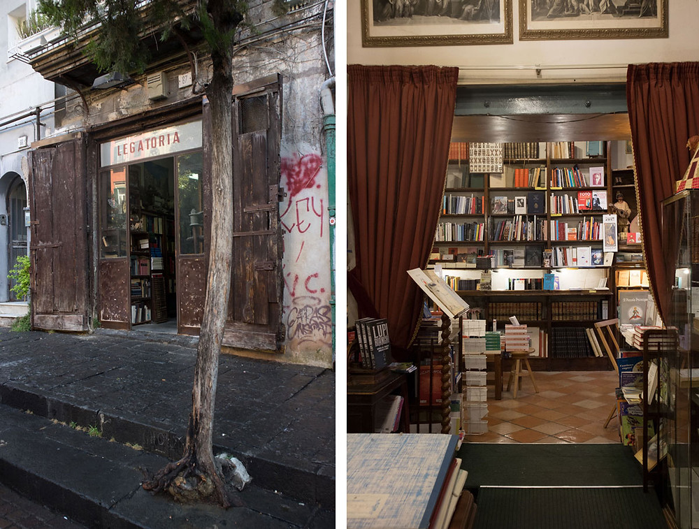 Piazza Bellini and Colonnese bookshop | Naples Italy