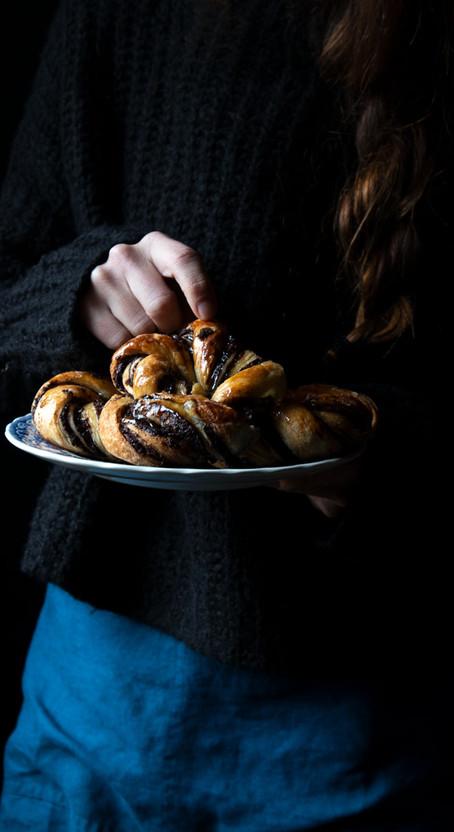 Bomb Overnight Yeast Kranz Cakes with Chocolate and Jam