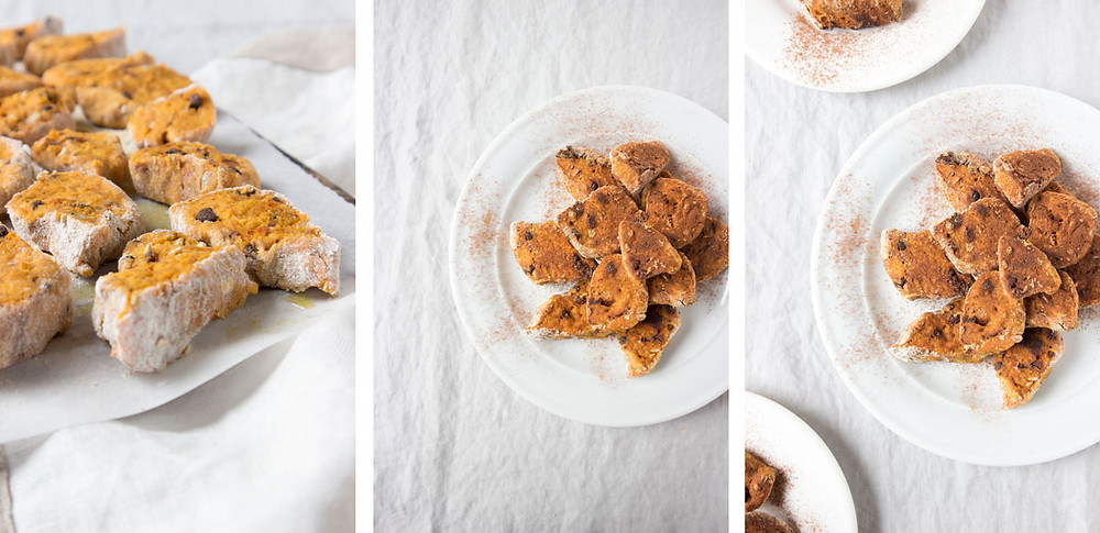 vegan pumpkin and tangerine cookies with hazelnuts and chocolate chips