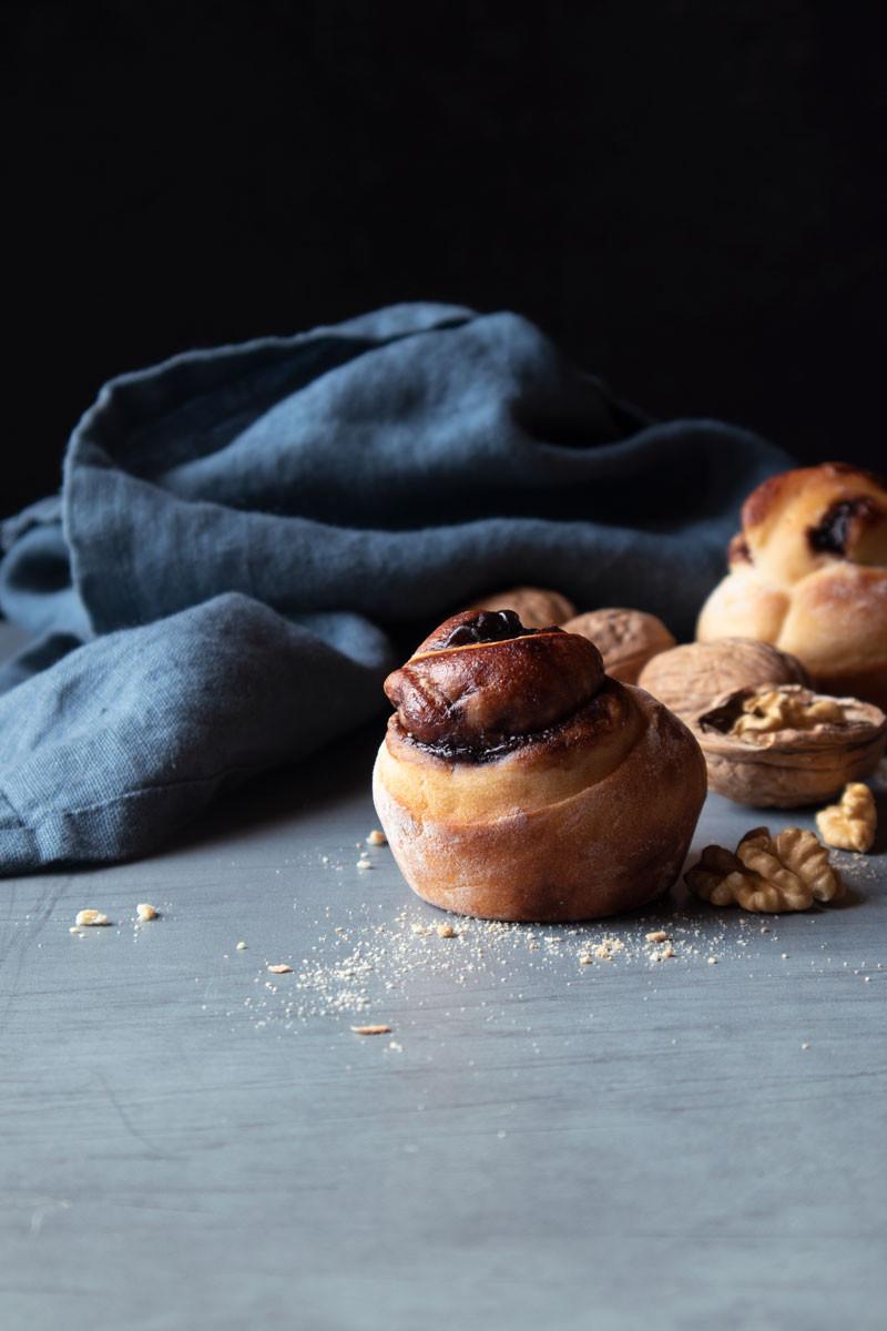 Brioche bread bun with chocolate
