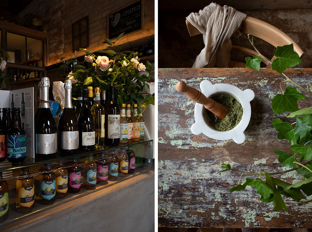 Grape Leaves Pesto, Prosecco, and Books at sullaluna | vegetarian eatery Venice Italy