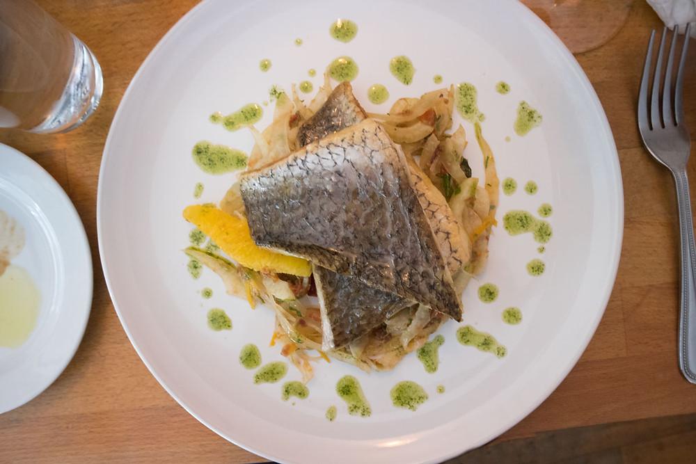 Stone-bass with veg | Best Italian wine bar in Dublin city: Piglet