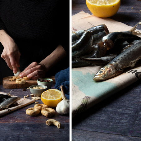 Butterfly Sardines with Breadcrumbs, Raisins, Pine Nuts, Lemon and Mint