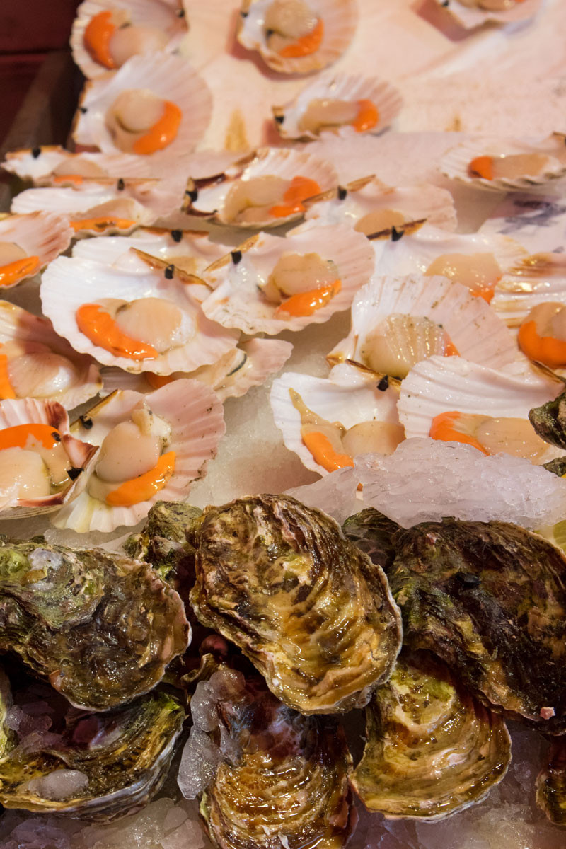 Queen scallops and oysters at the Chioggia fish market