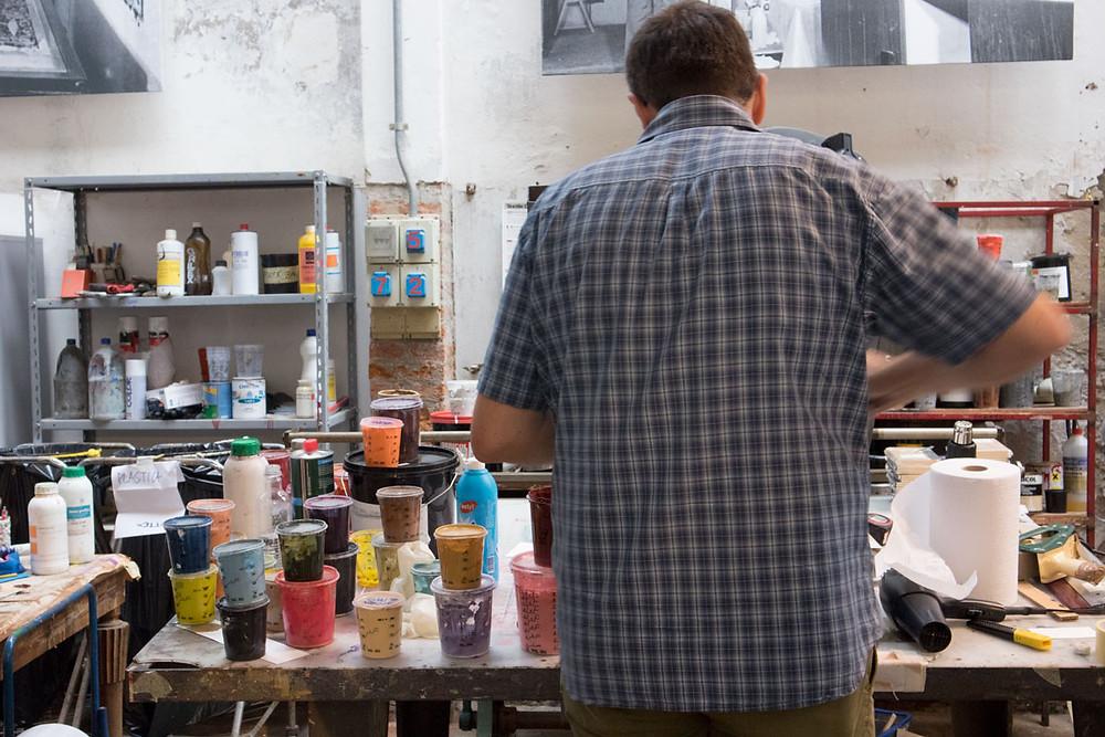 Fallani screen painting atelier, Venice (Italy)