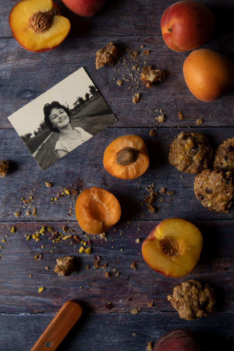 Baked peaches and apricots with a biscuit crumble and butter