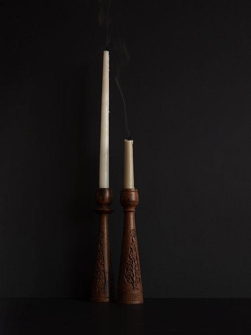 Vintage Carved Wood Candle Holders (Set of 2)