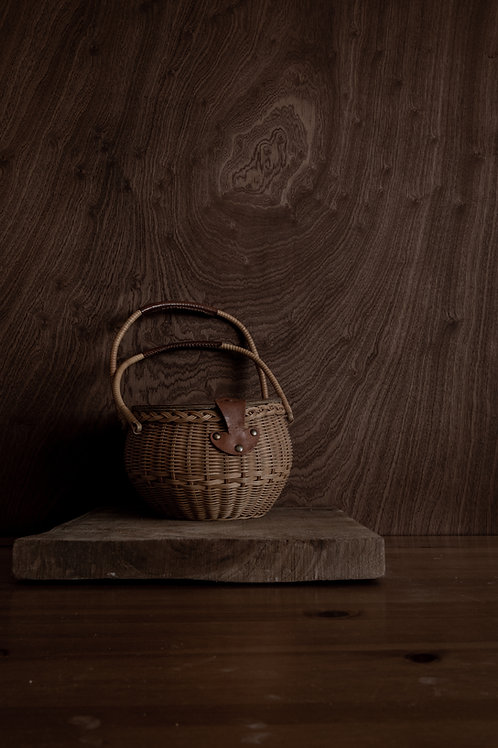 Wicker Basket Purse with Leather Top and Details