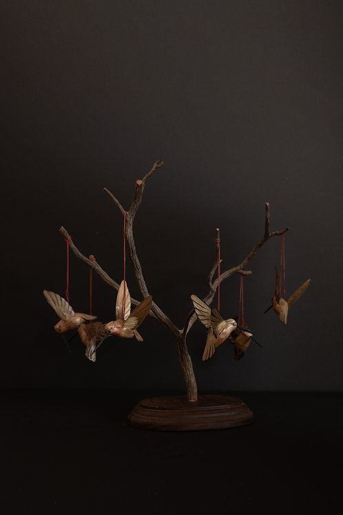 Handmade Wood Hummingbird Tree