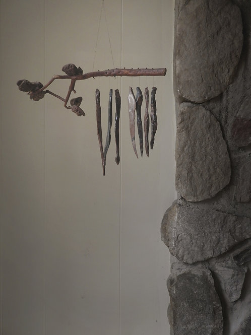 Wind Chime Made from Obsidian Volcanic Glass