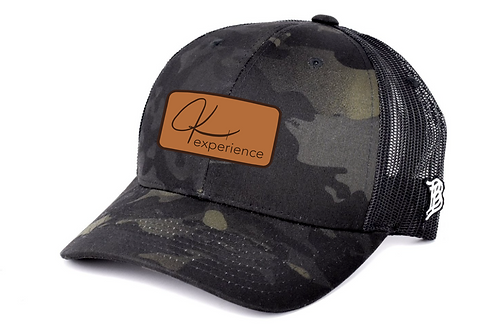 Black Camo Leather Patch Hat