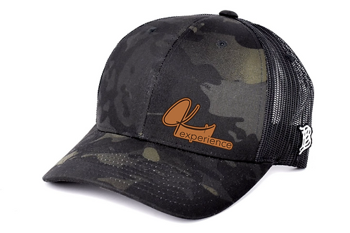 Black Camo Script Leather Patch Hat
