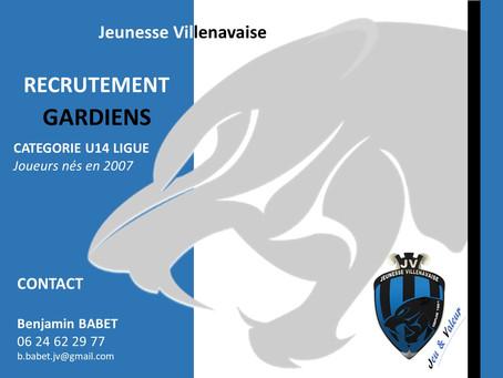 Recrutement de Gardiens U14 Ligue