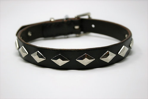 Brown Leather Collar With Decorative Studs