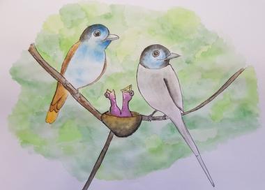 משפחת ציפורים בצבעי מים.png
