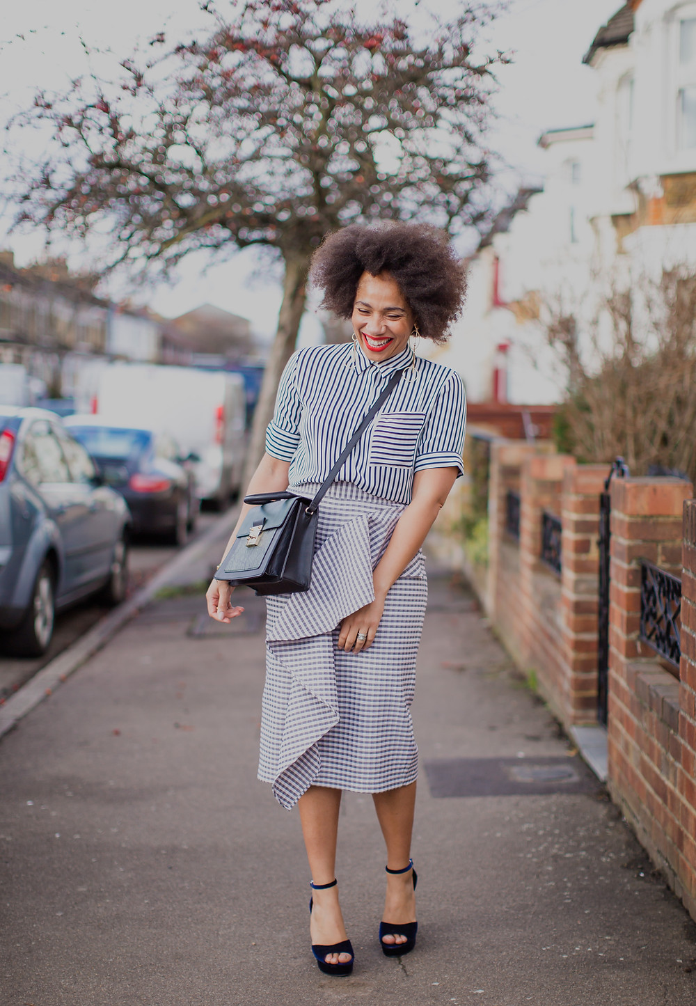 Style Me Sunday wearing M&S striped shirt and gingham pencil skirt