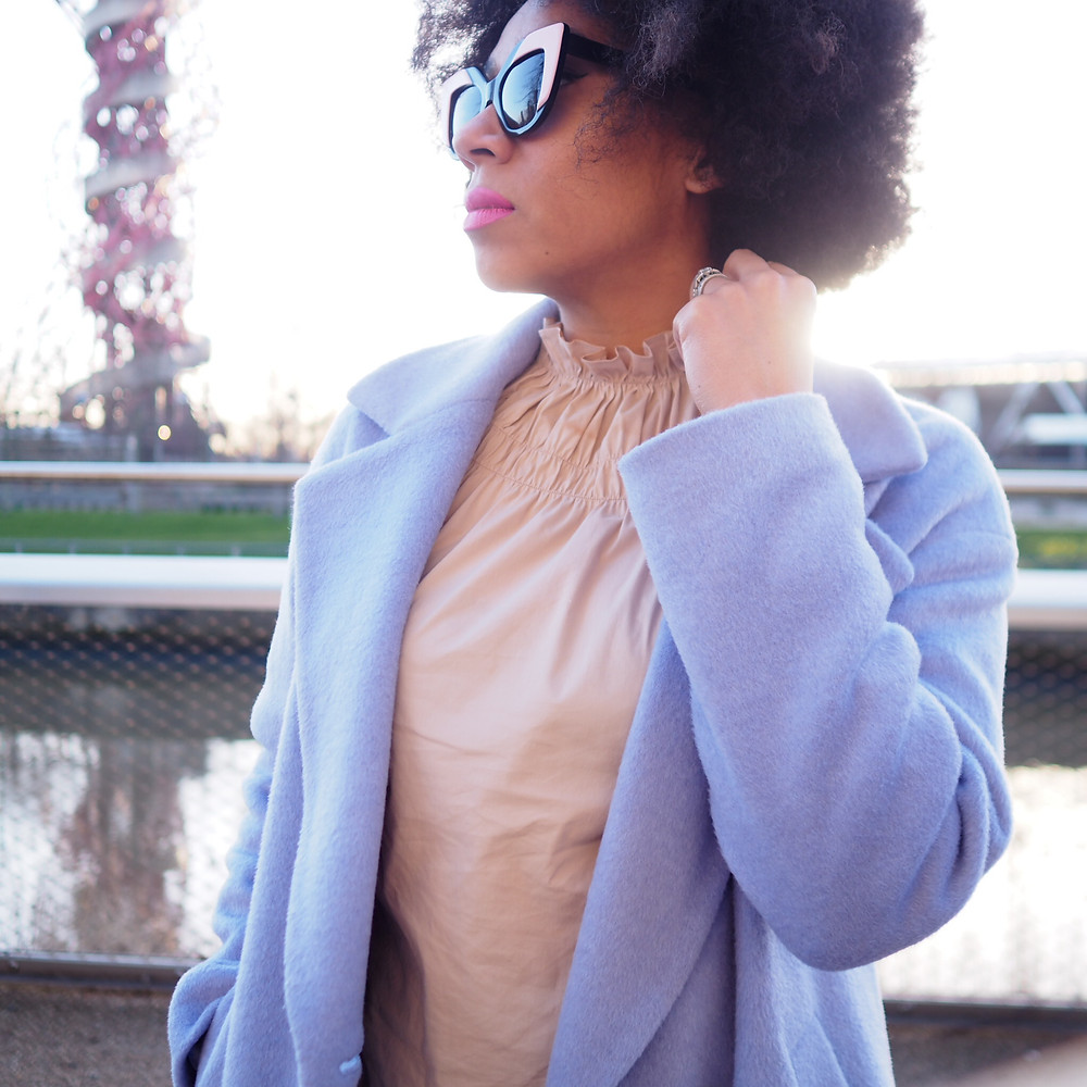 A lilac wool blend coat from Marks and Spencer worn by Natalie from Style Me Sunday
