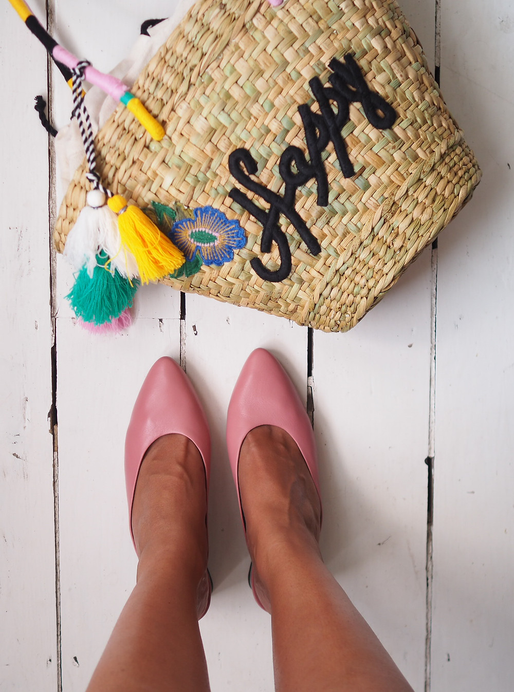 Happy embroidered straw bag, and peachy/ pink mules from M&S.