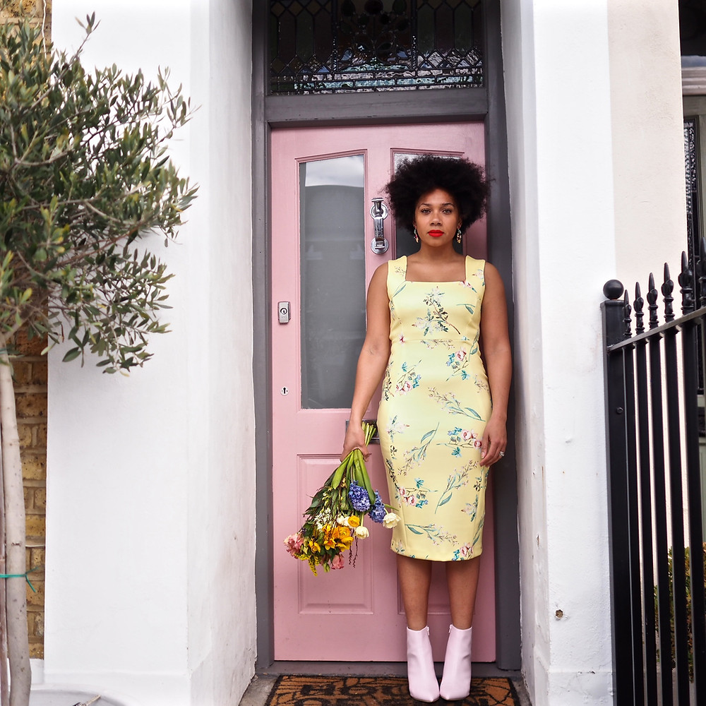 Yellow floral dress and pale pink boots from M&S worn by Nat from Style Me Sunday