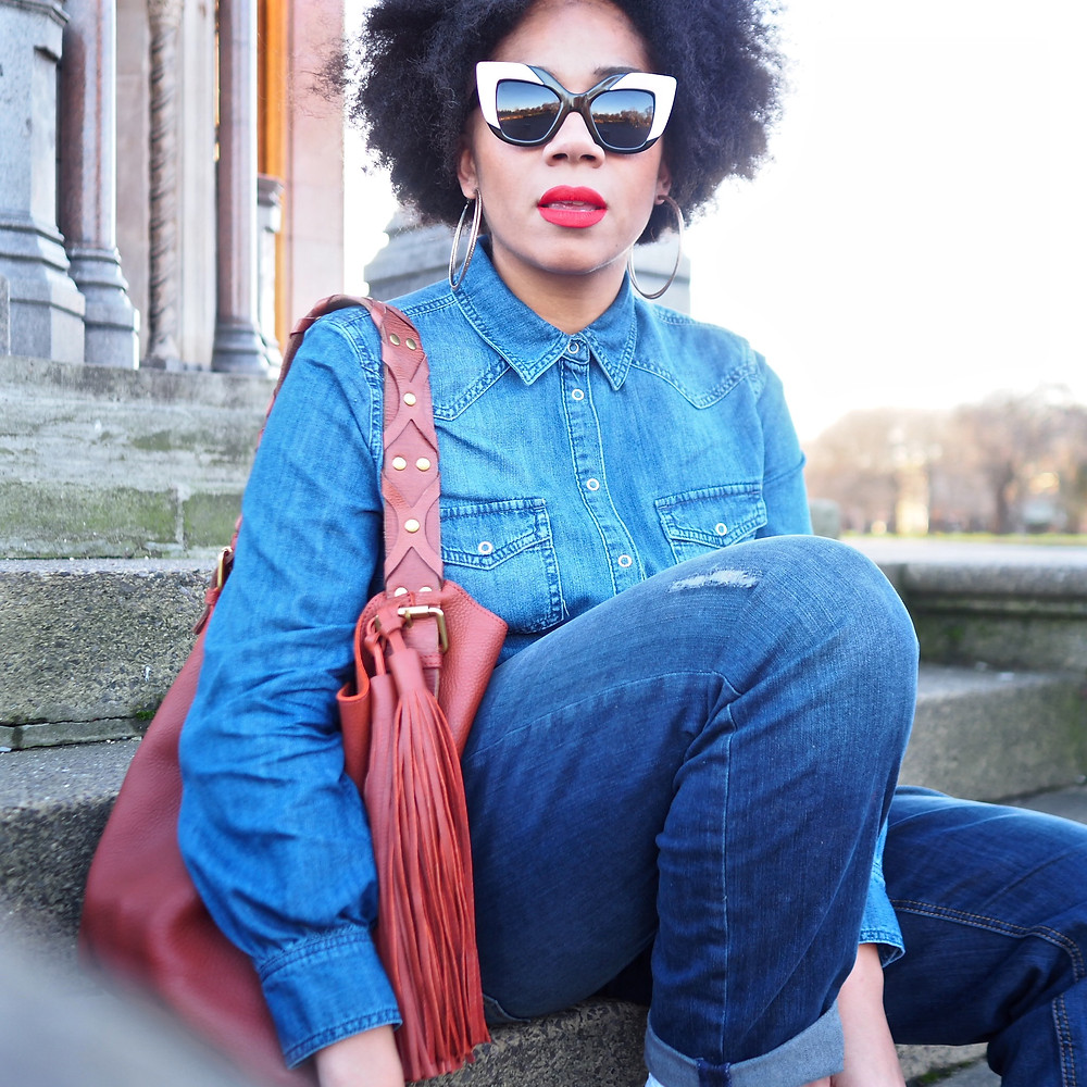 Leather bag and denim wear from John Lewis brand - AND/ OR