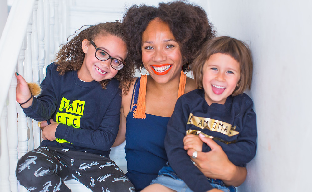 Natalie from Style Me Sunday and her daughters, one of whom is partially sighted.