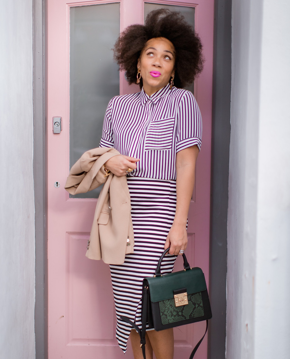 Striped shirt from M&S paired with a horizontally striped skirt
