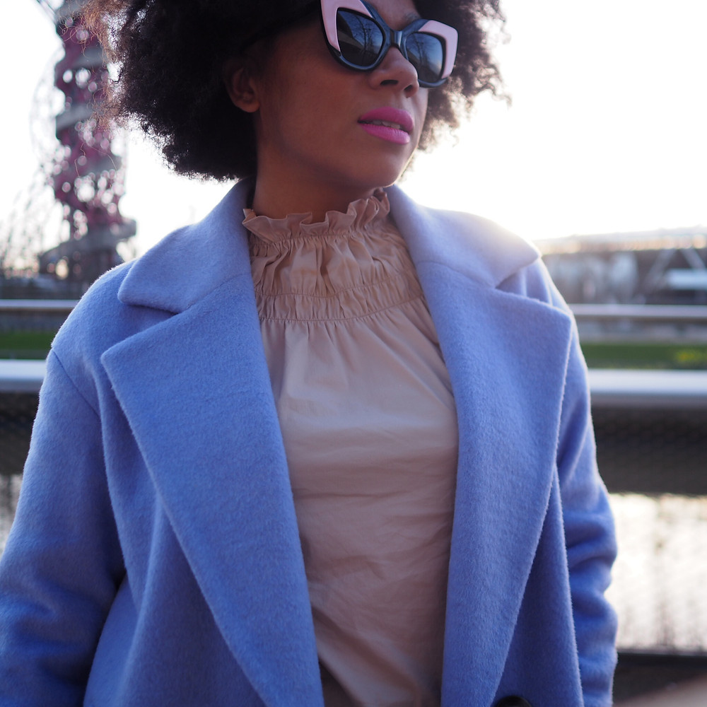 Nat from Style Me Sunday wearing a lilac wool coat from Marks and Spencer