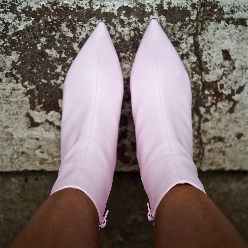 A close up of the Pale pink M&S boots